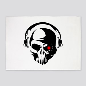 Terminator Dj Skull Dubstep Cyber P 5'x7'Area Rug