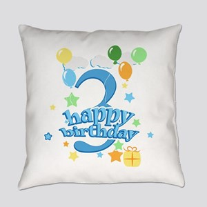 3rd Birthday with Balloons - Blue Everyday Pillow