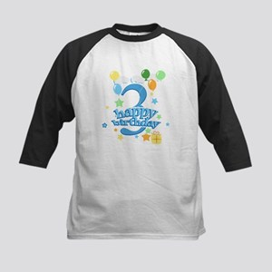 3rd Birthday with Balloons - Kids Baseball Jersey