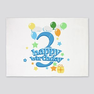 3rd Birthday with Balloons - Blue 5'x7'Area Rug