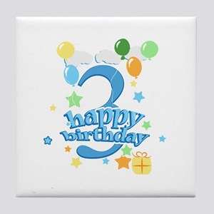 3rd Birthday with Balloons - Blue Tile Coaster