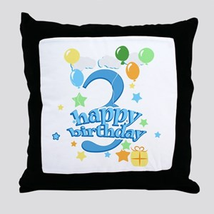 3rd Birthday with Balloons - Blue Throw Pillow