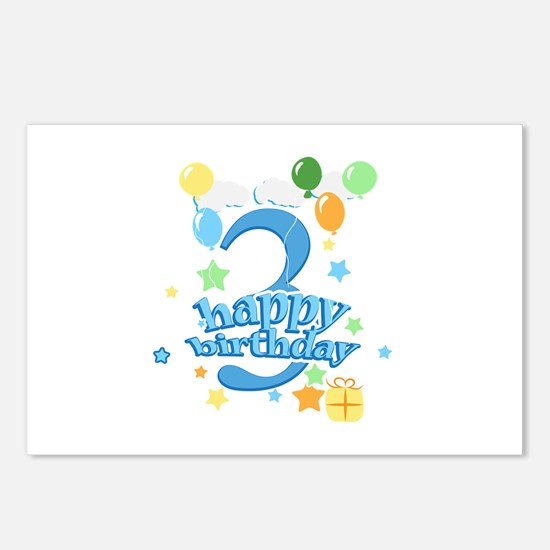 3rd Birthday with Balloon Postcards (Package of 8)