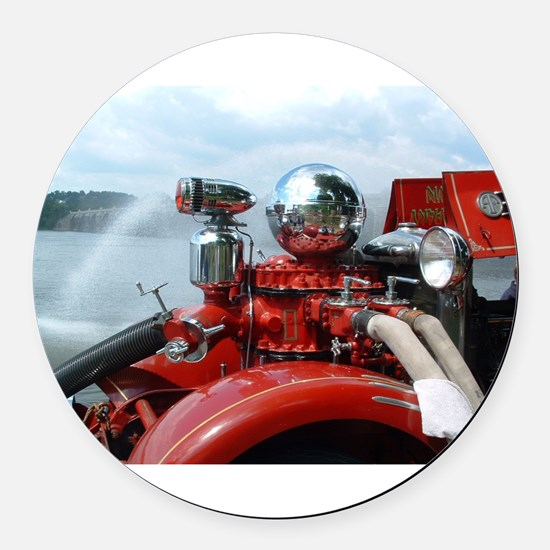 red pumper Round Car Magnet