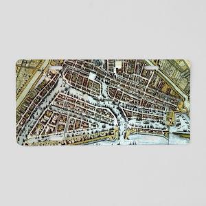 Vintage Map of Rotterdam Ne Aluminum License Plate