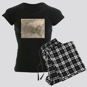 Vintage Map of The Roman Emp Women's Dark Pajamas