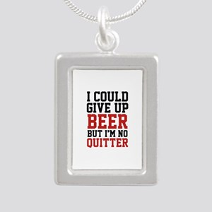 I Could Give Up Beer Silver Portrait Necklace