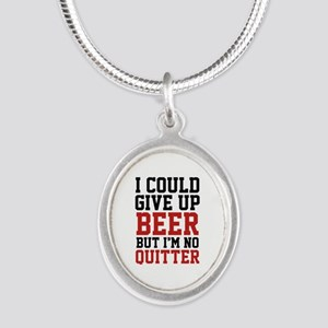 I Could Give Up Beer Silver Oval Necklace