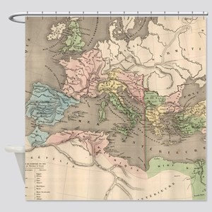 Vintage Map of The Roman Empire (18 Shower Curtain