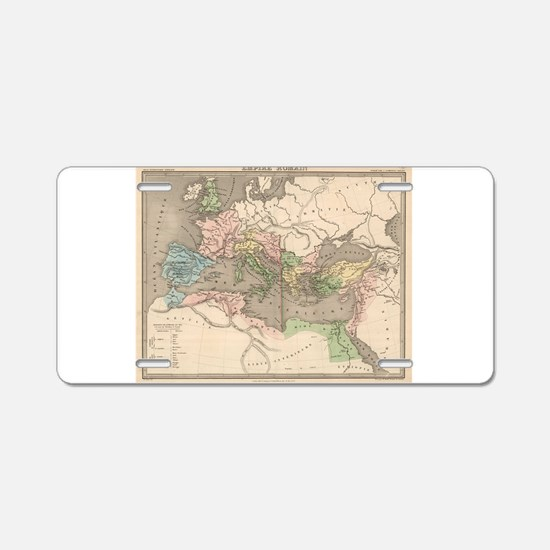 Vintage Map of The Roman Em Aluminum License Plate