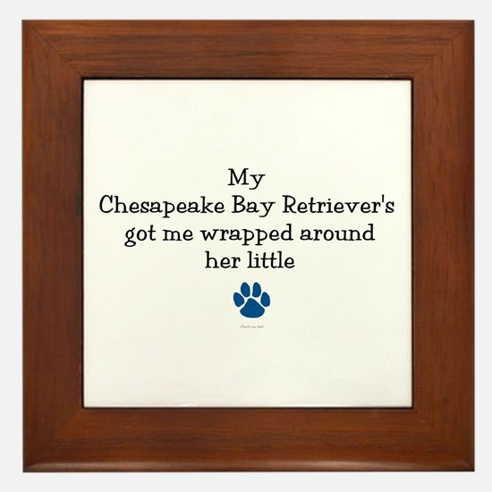 Wrapped Around Her Paw (Chesapeake) Framed Tile