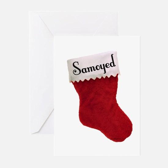Samoyed Stocking Greeting Cards (Pk of 10)