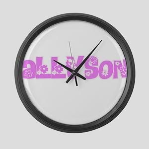 Allyson Flower Design Large Wall Clock