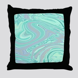 grey mint swirls Throw Pillow