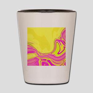 neon fuchsia yellow swirls Shot Glass