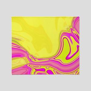 neon fuchsia yellow swirls Throw Blanket