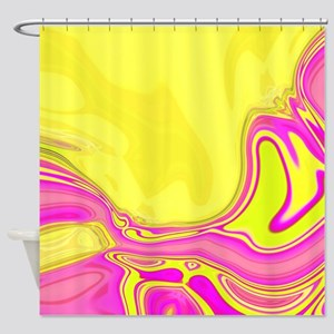 neon fuchsia yellow swirls Shower Curtain