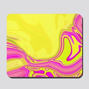 neon fuchsia yellow swirls Mousepad