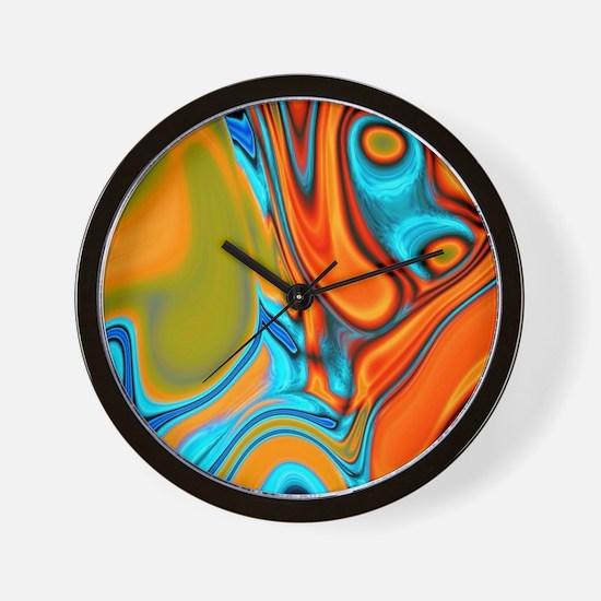 turquoise orange swirls Wall Clock