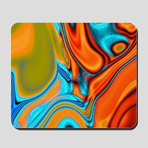 turquoise orange swirls Mousepad