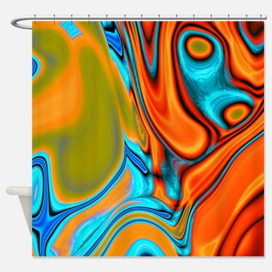 turquoise orange swirls Shower Curtain