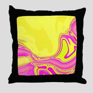 neon fuchsia yellow swirls Throw Pillow