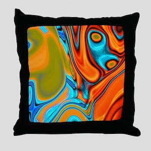 turquoise orange swirls Throw Pillow
