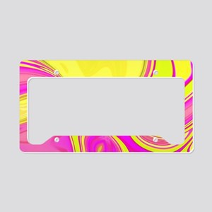 neon fuchsia yellow swirls License Plate Holder