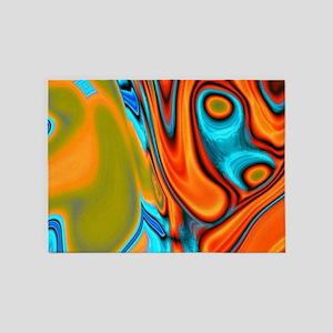 turquoise orange swirls 5'x7'Area Rug