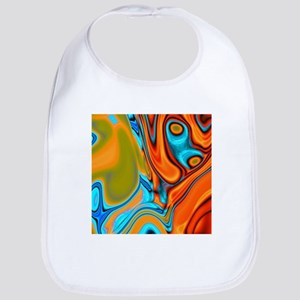 turquoise orange swirls Bib