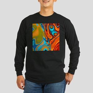 turquoise orange swirls Long Sleeve T-Shirt