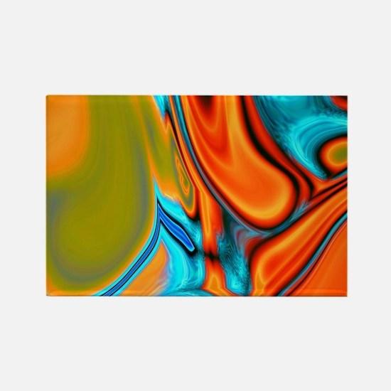 turquoise orange swirls Magnets