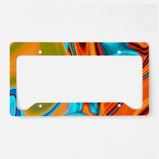 turquoise orange swirls License Plate Holder