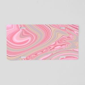 cute pink marble swirls Aluminum License Plate