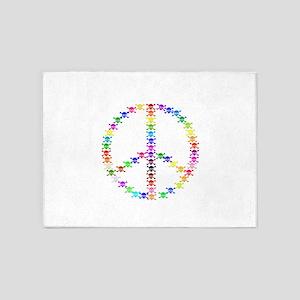 Rainbow Skulls Peace Sign 5'x7'Area Rug