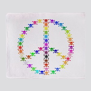 Rainbow Skulls Peace Sign Throw Blanket