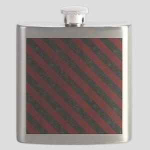 STRIPES3 BLACK MARBLE & RED GRUNGE Flask