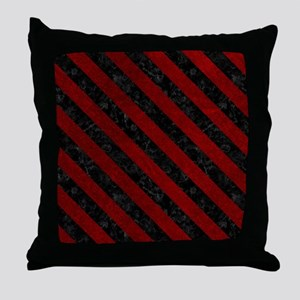 STRIPES3 BLACK MARBLE & RED GRUNGE Throw Pillow