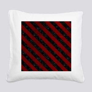 STRIPES3 BLACK MARBLE & RED G Square Canvas Pillow