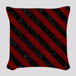 STRIPES3 BLACK MARBLE & RED GR Woven Throw Pillow