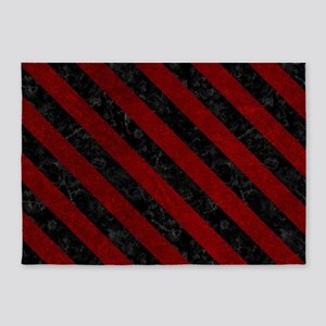 STRIPES3 BLACK MARBLE & RED GRUNGE 5'x7'Area Rug