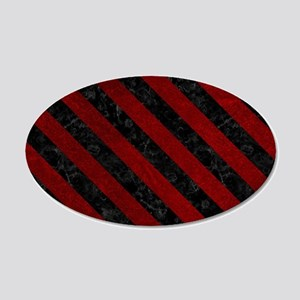 STRIPES3 BLACK MARBLE & RED 20x12 Oval Wall Decal