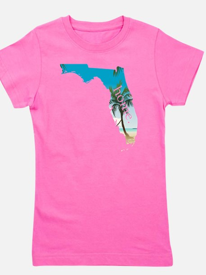 Florida Home Palm Tree Beach Girl's Tee