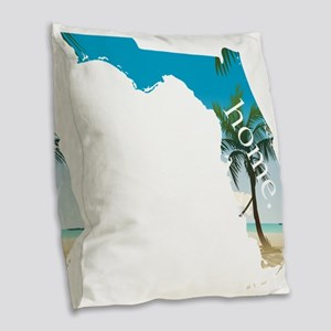Florida Home Palm Tree Beach Burlap Throw Pillow