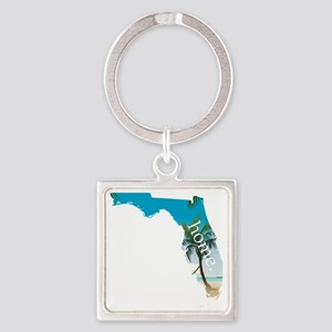 Florida Home Palm Tree Beach Square Keychain