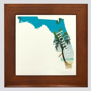 Florida Home Palm Tree Beach Framed Tile