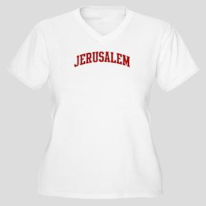 JERUSALEM (red) Women's Plus Size V-Neck T-Shirt