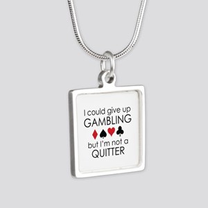 I Could Give Up Gambling Silver Square Necklace