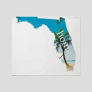 Florida Home Palm Tree Beach Throw Blanket