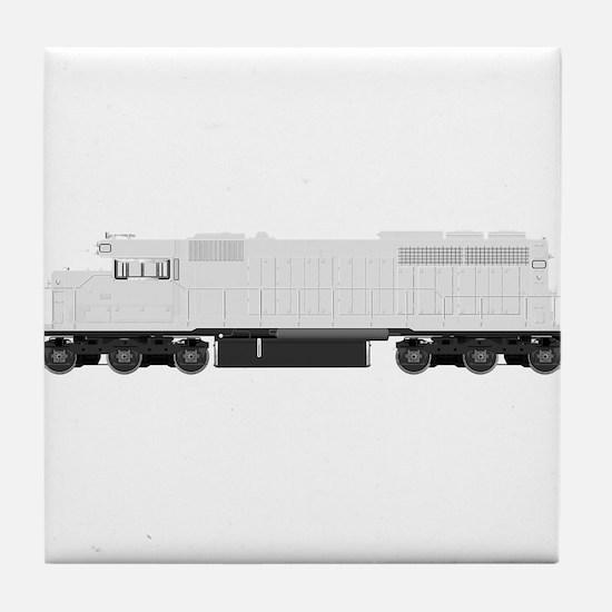 White train drawing Tile Coaster